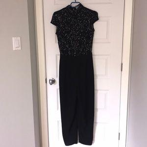 Beaded black & lace jumper